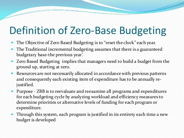 zero based budgeting template