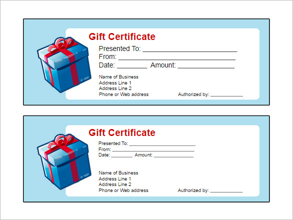 free template for gift certificate