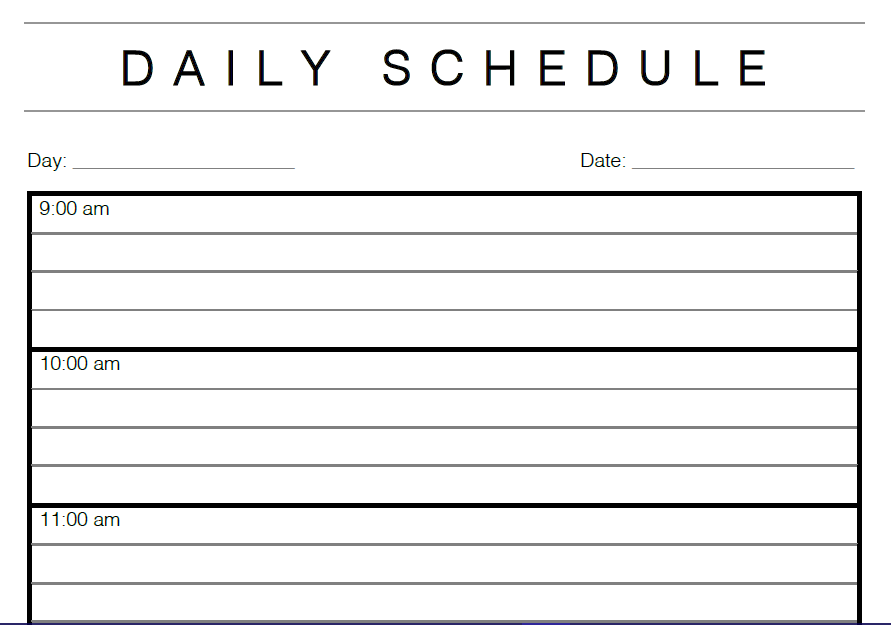 daily schedule template daily calendar template shatterlion info 21299
