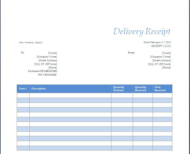 Delivery Receipt Template | shatterlion.info