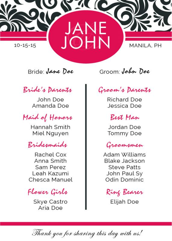 Free Downloadable Wedding Program Template That Can Be ...