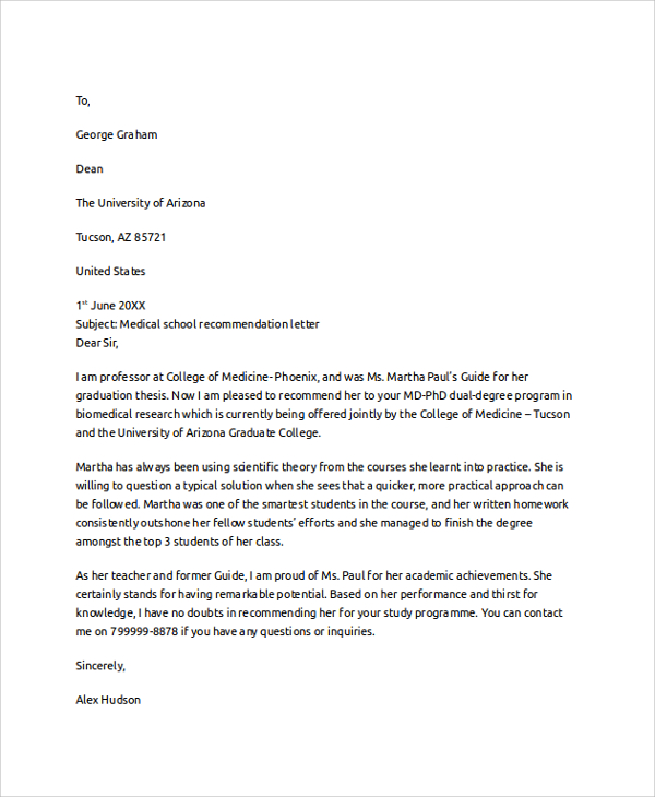 Medical school letter of recommendation template idealstalist medical school letter of recommendation template letter recommendation spiritdancerdesigns Images