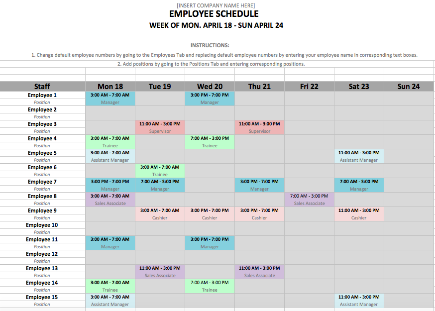 Monthly Employee Schedule Template Excel | shatterlion.info