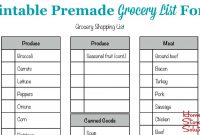Printable Grocery List Template  Grocery Template Printable