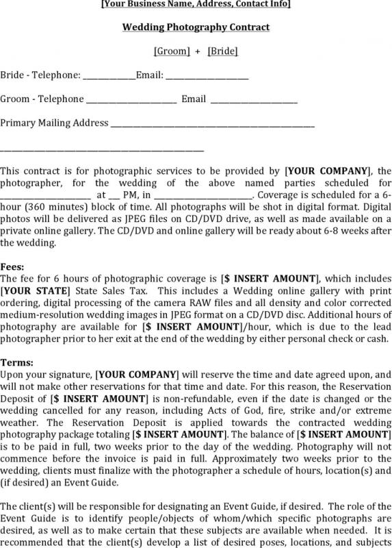 Wedding Photography Contract Template | shatterlion.info
