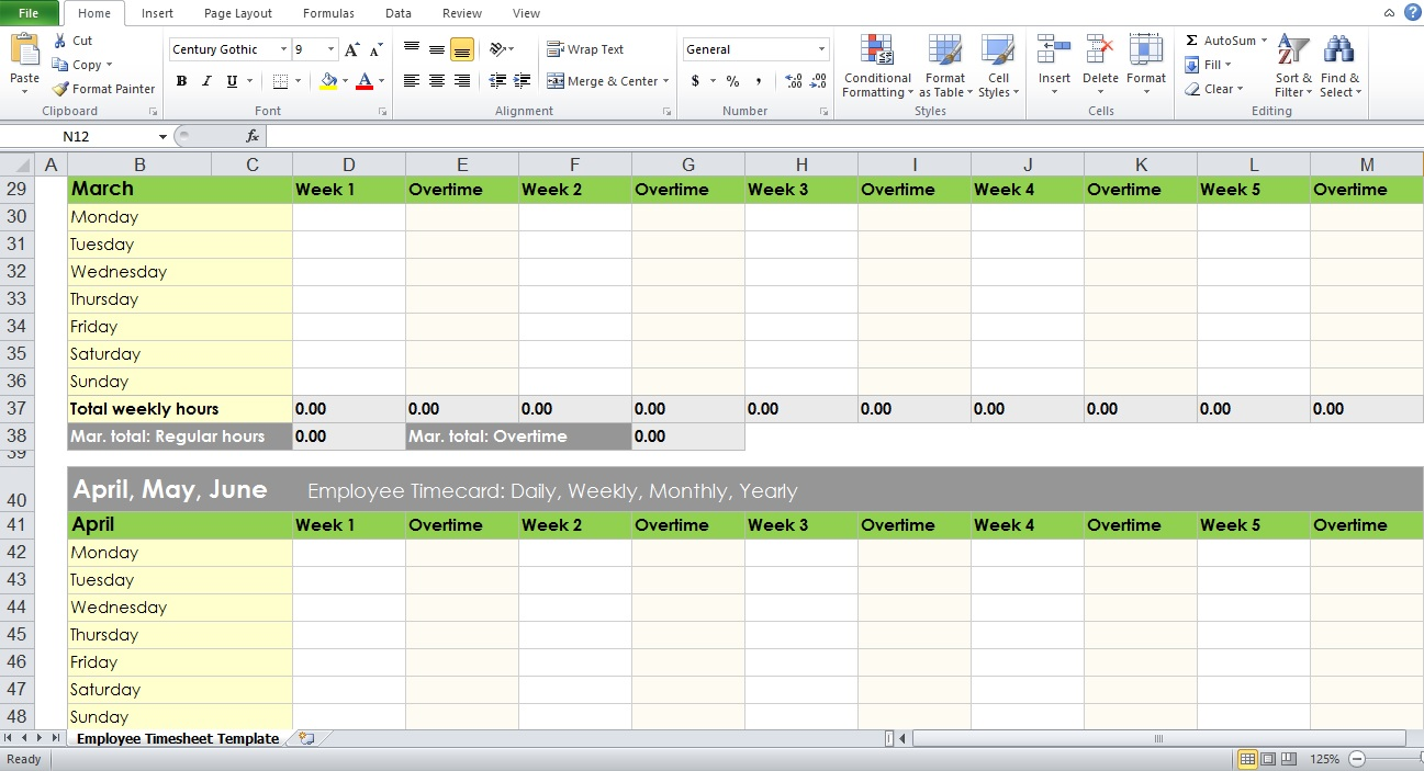 Weekly Timesheet Template Excel | shatterlion.info